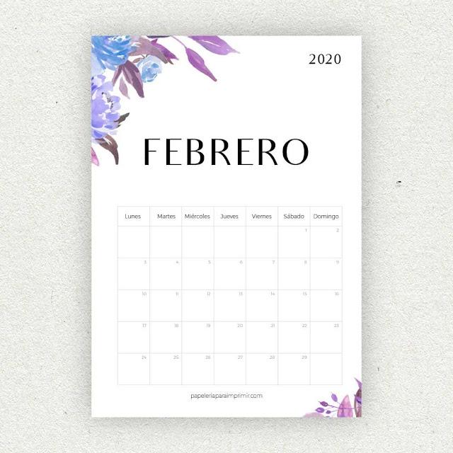 Calendario 2020 de Febrero para imprimir