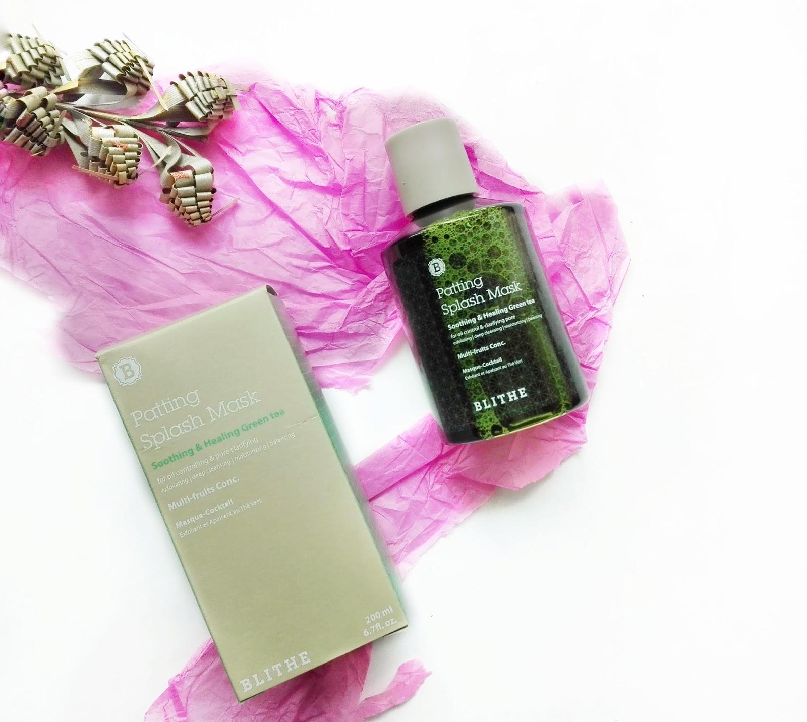 Review ] BLITHE Patting Splash Mask Soothing & Healing Green Tea ...