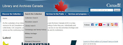 Screen capture of the Library and Archives Canada home page showing the items under the Search the Collection tab.