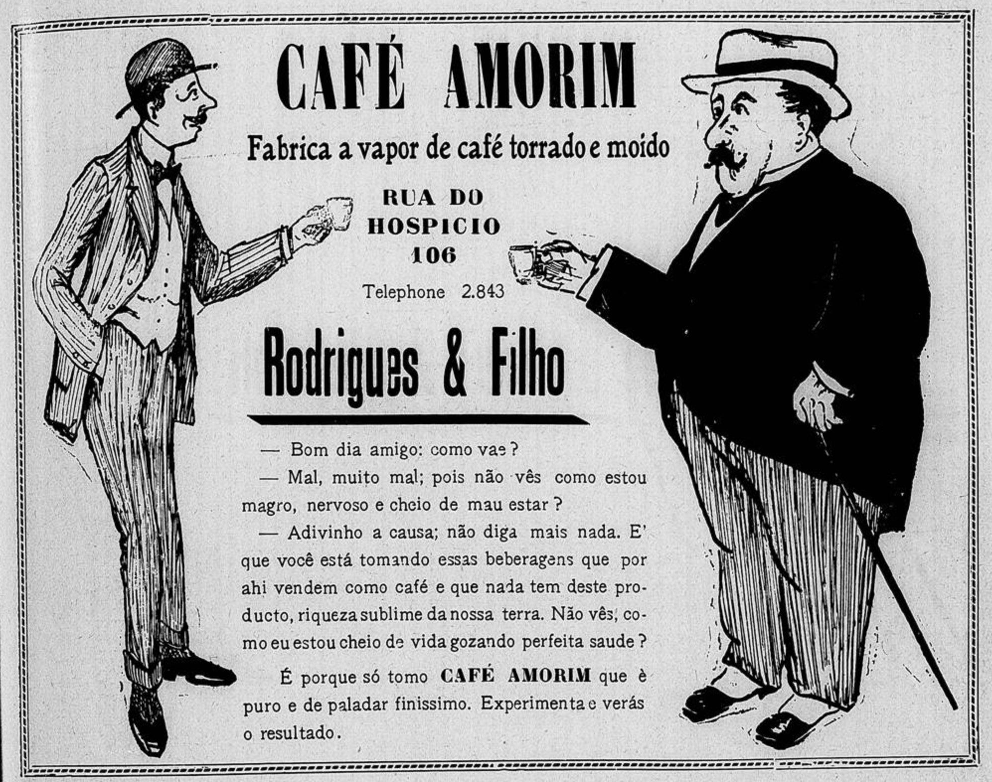 Anúncio veiculado no ano de 1915 que promovia o Café Amorim