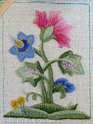 Crewel Sampler (by Elsa Williams): Central motif nearly complete
