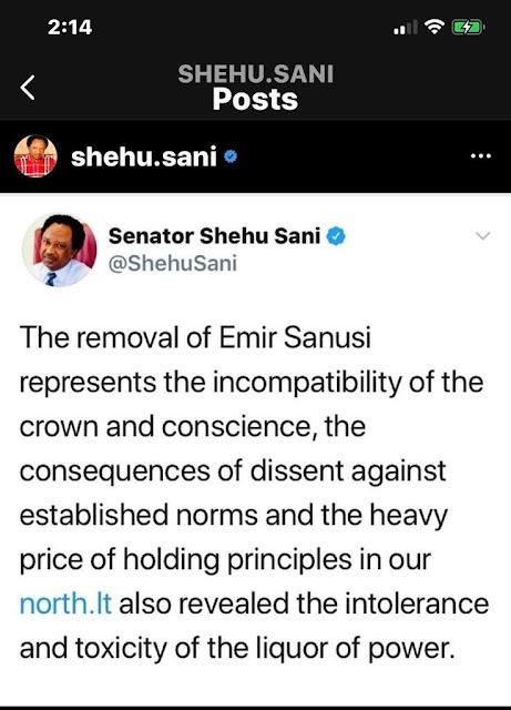 Shehu Sani blames Northern Elders for Gov. Ganduje, Emir Sanusi crisis