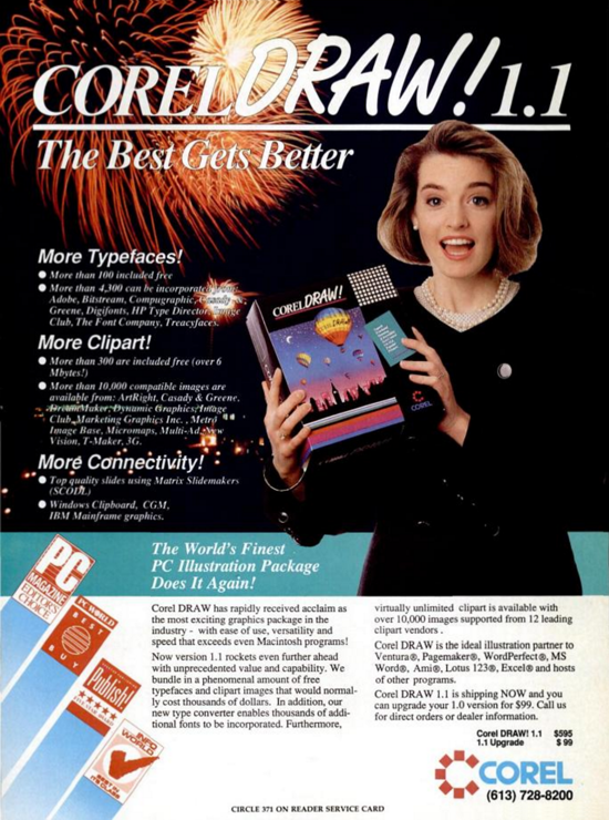 CorelDRAW advertising September 1989