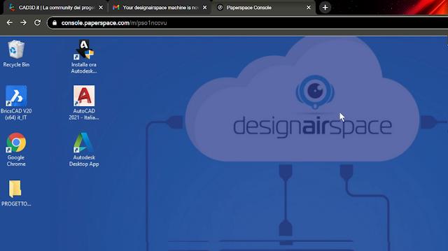 la schermata di Paperspace nel browser