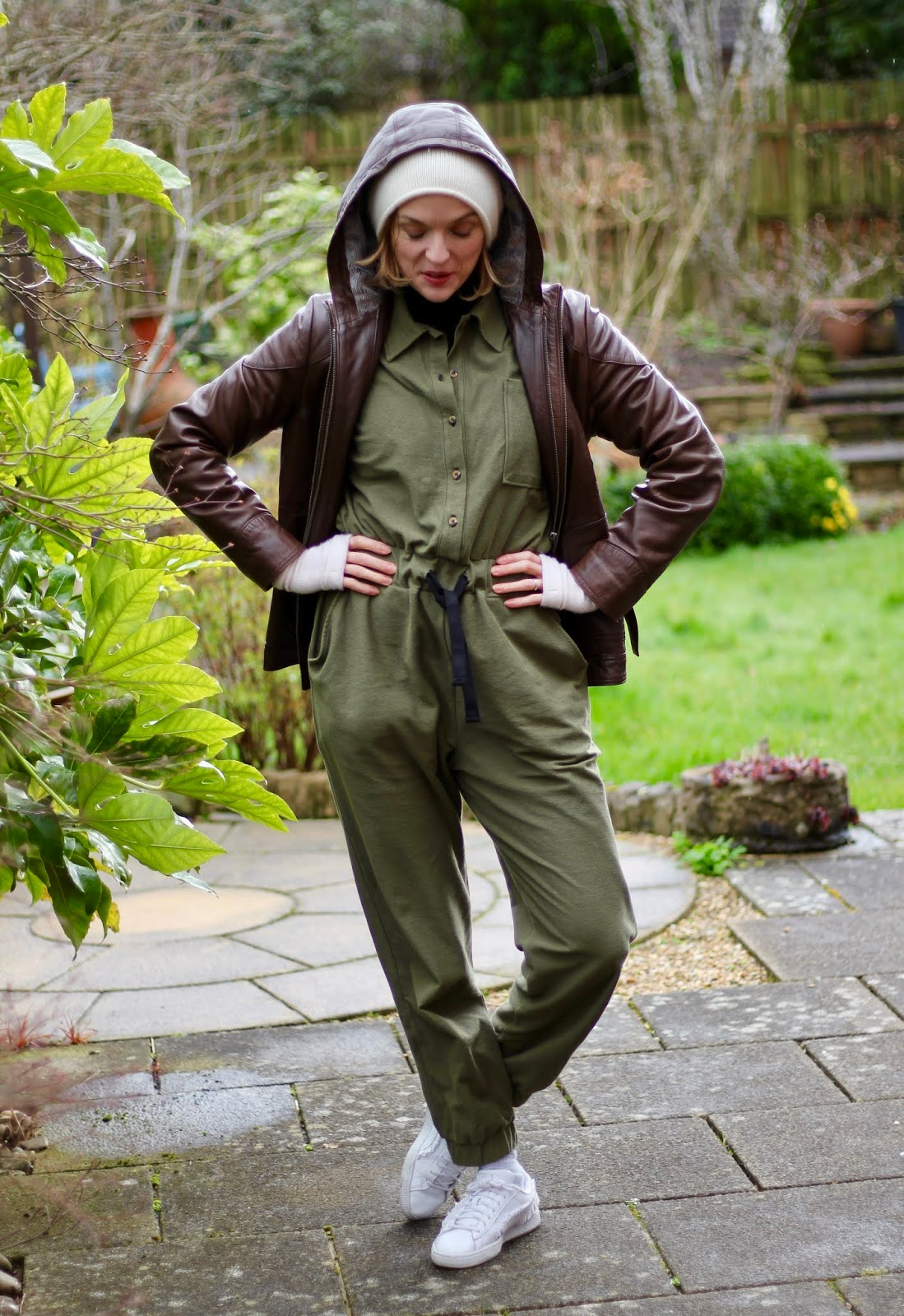 Khaki boiler suit, white trainers and leather | Fake Fabulous