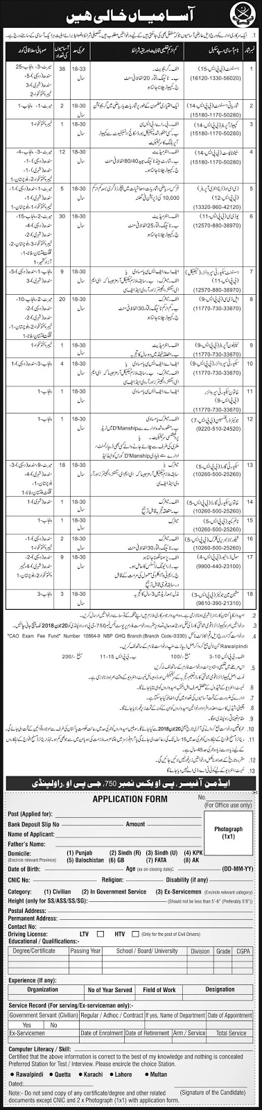 Jobs In Pakistan Army PO BOX NO 750 GPO Rawalpindi - Application Form