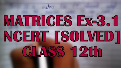 Matrices Ex - 3.1 NCERT Solved Class 12th