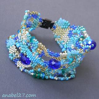 Купить оригинальные украшения из бисера голубой бирюзовый фриформ freeform bracelet браслет