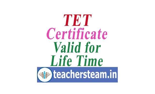 Teachers Eligibility Test TET pass certificate valid for Life Time