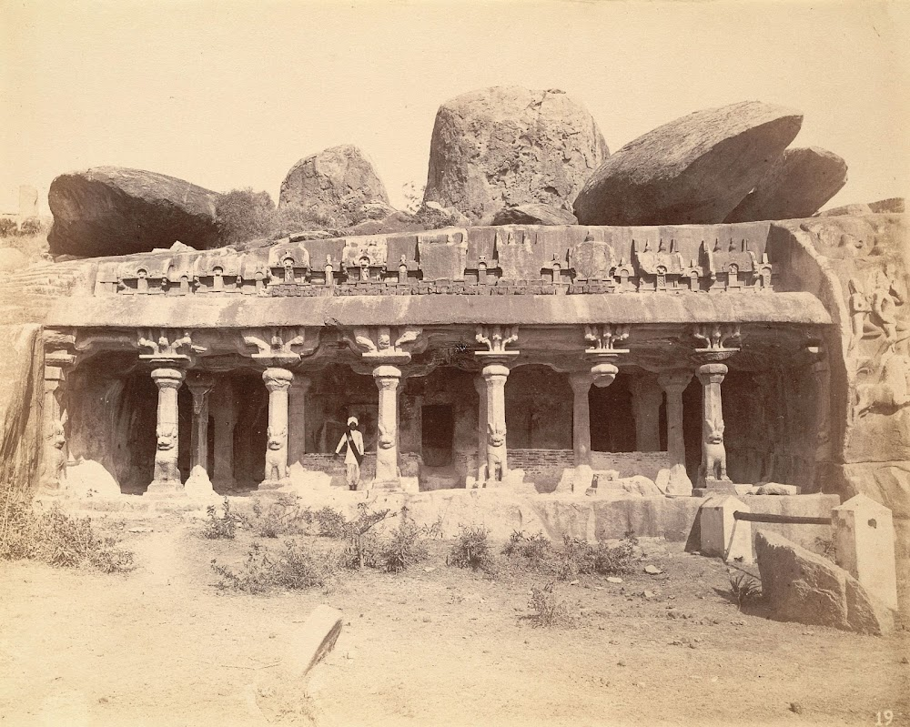 General view of the entrance to the Pancha Pandava Mandapa, Mamallapuram, Tamil Nadu - c.1885