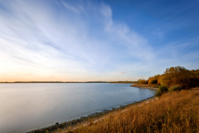Autumn browns at Grafham Water on a clear evening in Cambridgeshire