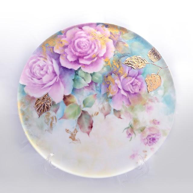 瓷畫創作金的華麗玫瑰盤, 瓷畫, 瓷繪, 釉上彩, 瓷器彩繪, 手繪瓷器, Porcelain Painting