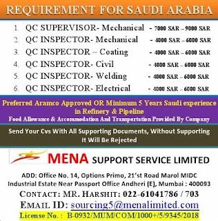 QC Inspector for Saudi Arabia