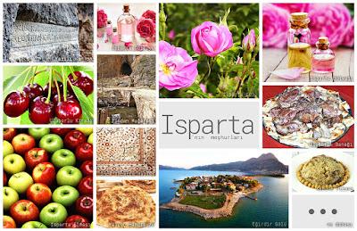 Isparta'nın meşhur şeylerini gösteren resimlerden oluşan kolaj