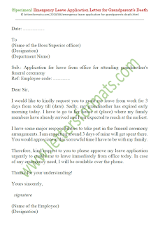 leave application letter for grandmother expired