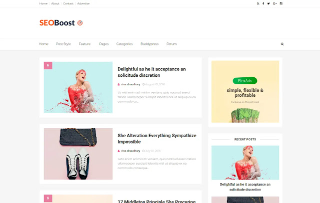 SeoBoost Responsive Personal Blog Tutorial Tips & Tricks Blogger Template Theme