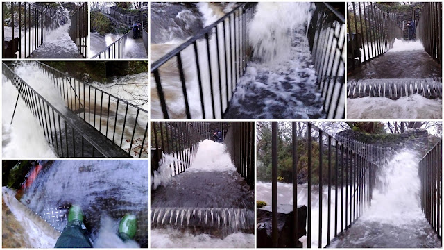 Images from the waterfall in Oughterard during Storm Desmond December 2015