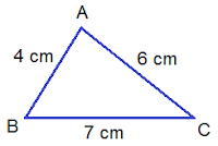 triangle ABC of lengths 4, 7 and 6 cm