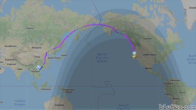 Hành trình của máy bay Việt Nam đi Mỹ theo đường vòng