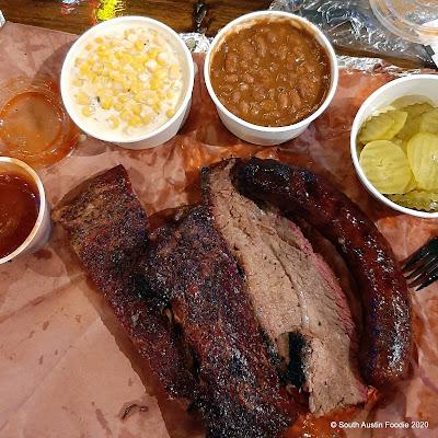 Terry Black's BBQ Texas Trinity brisket, pork ribs, sausage