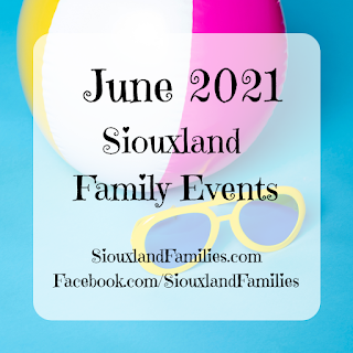 """a beachball and yellow sunglasses sit on a bright blue background. in foreground, the words """"June 2021 Siouxland Family Events"""""""