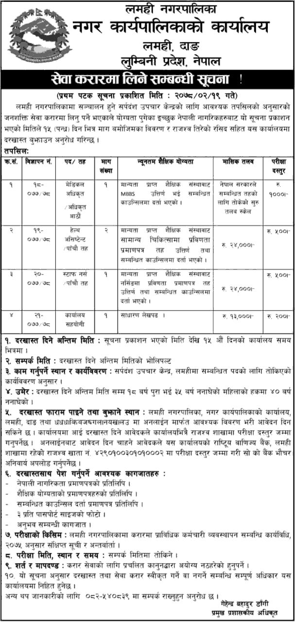 Lamahi Municipality, Dang Job Vacancy for Medical Officer, HA, Nurse and Helper