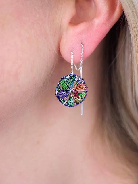 Wire art, chain earrings