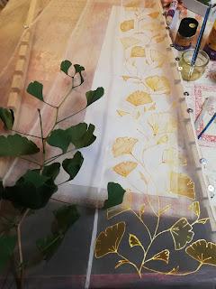 Peinture sur organza, robe de mariée Ginkgo