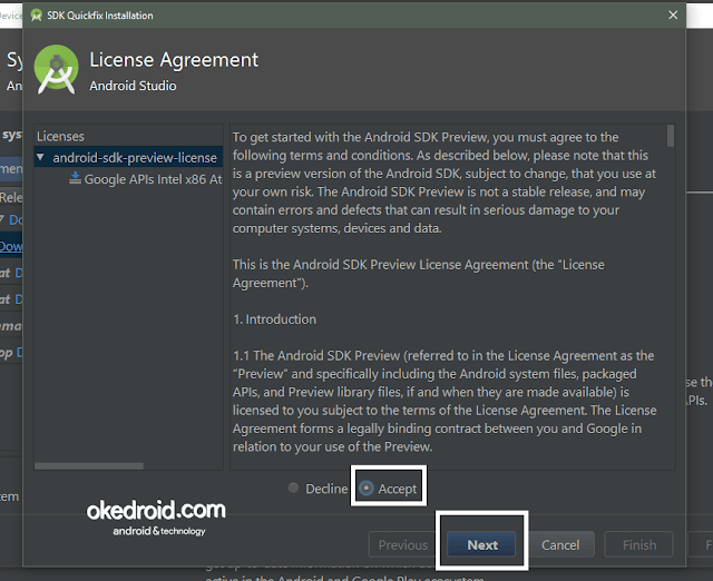 License Agreement Membuat AVD di Android Studio