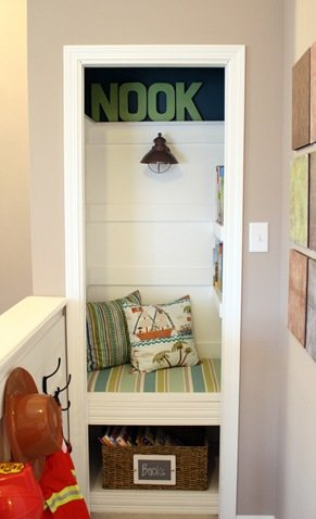 DIY book nook in closet
