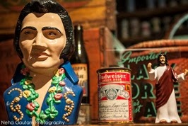 Figurines - Elvis Presley, vintage Budweiser can, and Jesus