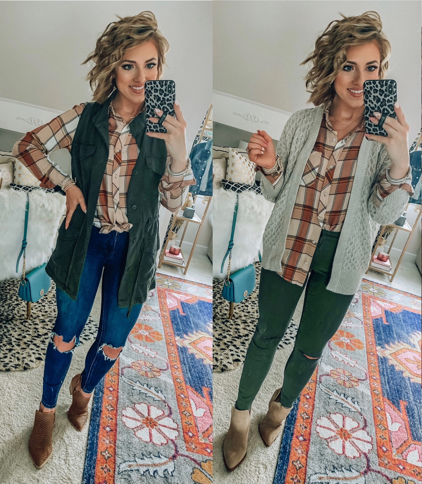 Target Fall Finds: Part 2 - Under $20 Plaid Top styled two ways - Something Delightful Blog #fallfashion #leopard #pajamas #targetstyle #targetfallfinds
