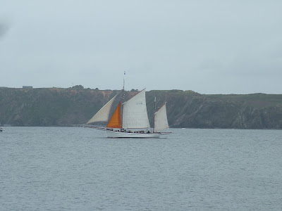 white sailt boat in full sail with green cliff in distance