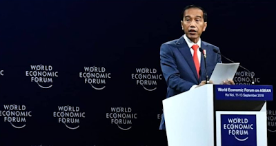 Indonesian President Joko Widodo when delivering a speech at the World Economic Forum on ASEAN