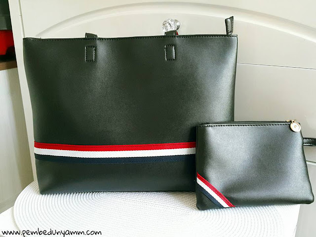 şeritli çanta