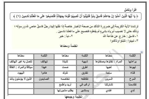 مذكرة لغة عربية للصف السادس الابتدائي الترم الثاني لعام 2021