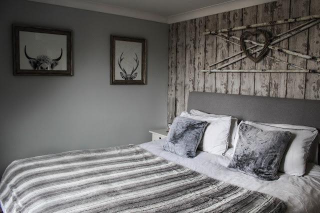 DIY rustic log cabin bedroom