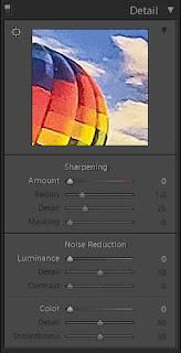 Lightroom details tab showing the sharpening sliders