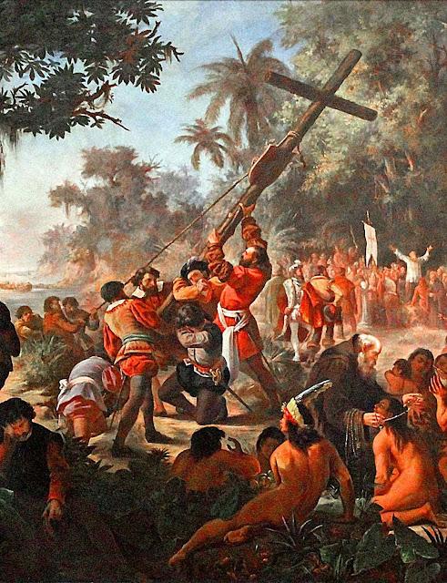 A entrada da civilização foi inseparável da evangelização. Elevação da Cruz em Porto Seguro, Pedro José Pinto Peres (1841 -- 1923), Museu Nacional de Belas Artes, RJ