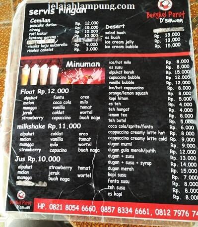 menu minuman bengkel perut dsawah