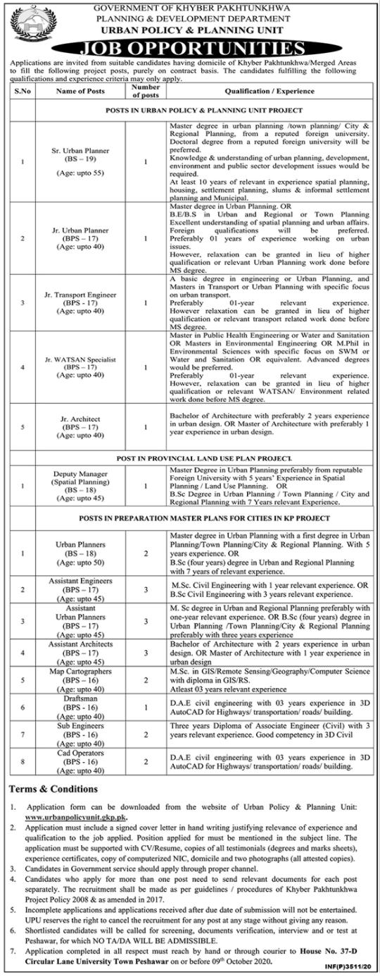 Latest Jobs In Planning & Development Department KPK   2020 Urban Policy & Planning Unit