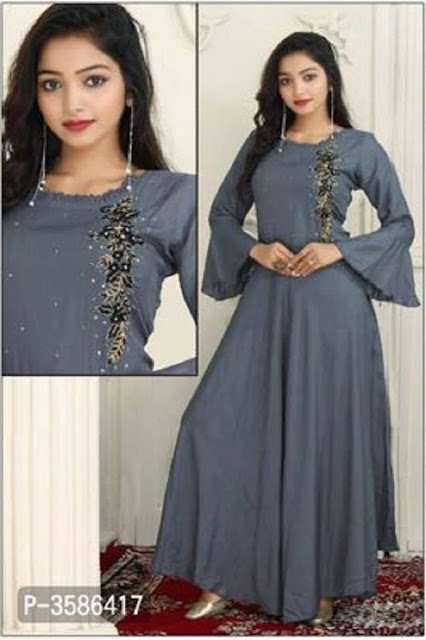 Rayon Embroidered  Anarkali Kurta