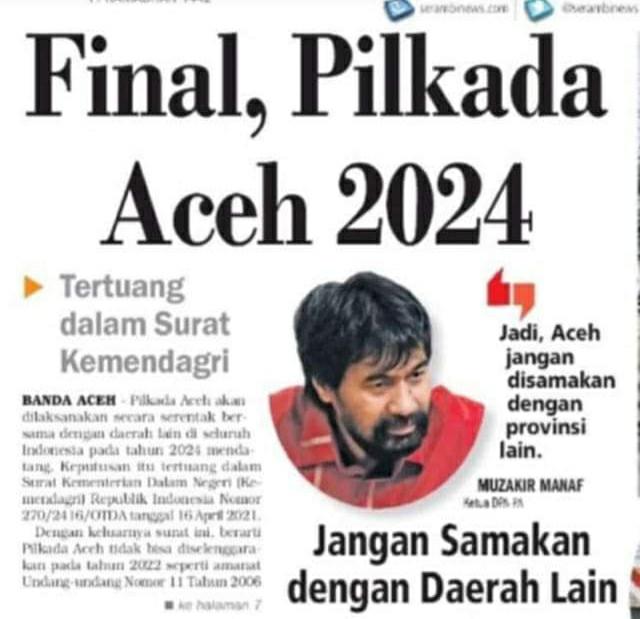 Final, Pilkada Aceh 2024 Tertuang dalam Surat Kemendagri