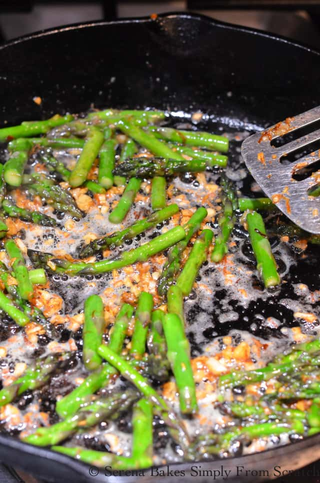 Cook Asparagus in lemon zest and garlic until tender for Bacon Asparagus Pasta Recipe.