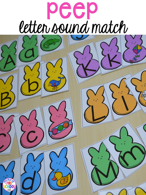Peep beginning sound and letter match game. Peeps 5 senses and taste test FREEBIE. For preschool, pre-k, and kindergarten.