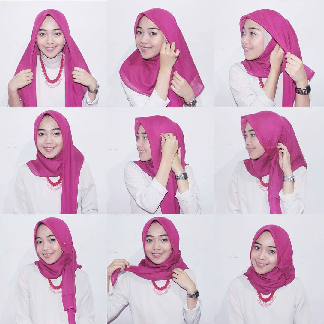 25 Tutorial Hijab Segi Empat Terbaru 2017 Simple Modis