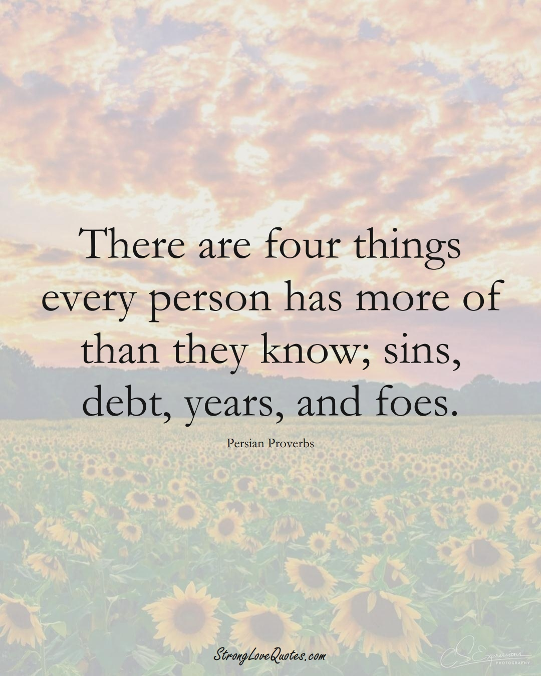 There are four things every person has more of than they know; sins, debt, years, and foes. (Persian Sayings);  #aVarietyofCulturesSayings