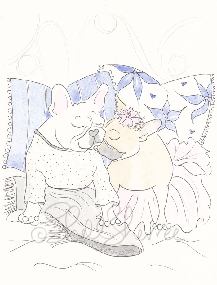 Frenchie Snuggles French Bulldogs illustration  © Shell Sherree all rights reserved