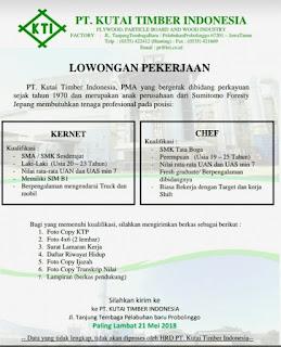 Lowongan kerja PT. KUTAI TIMBER INDONESIA TERBARU