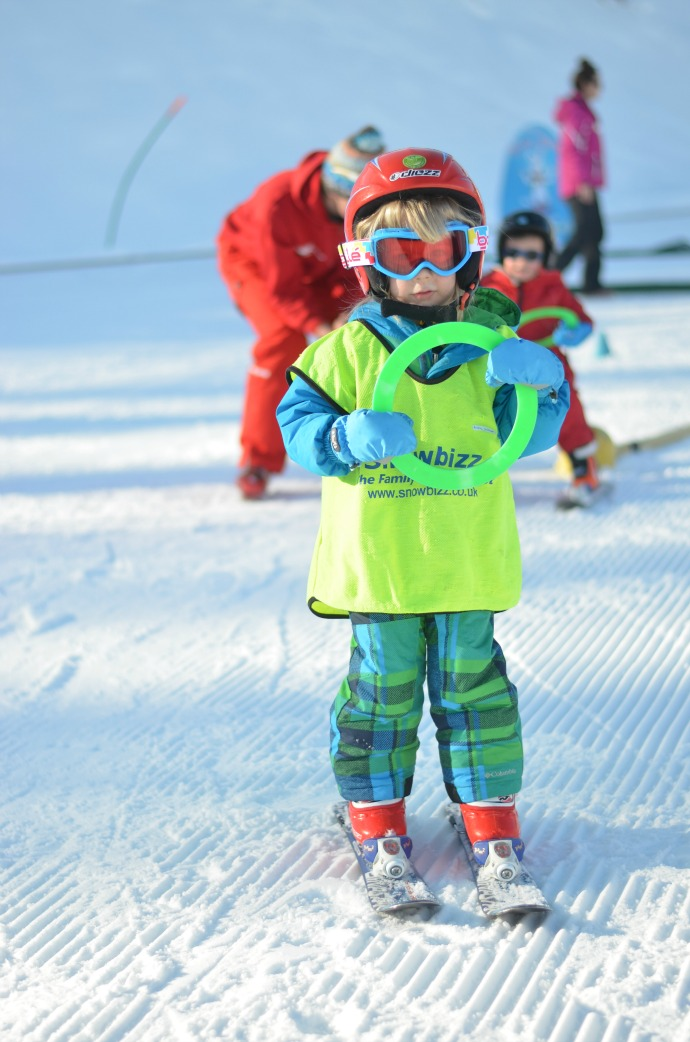toddler skiing, snowbizz, 2 year old at ski school, learning to ski, two year old ski lessons
